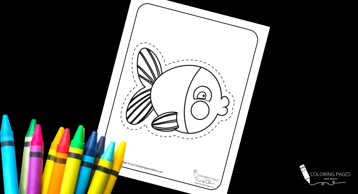 Kissy Fish Coloring and Cutting Page