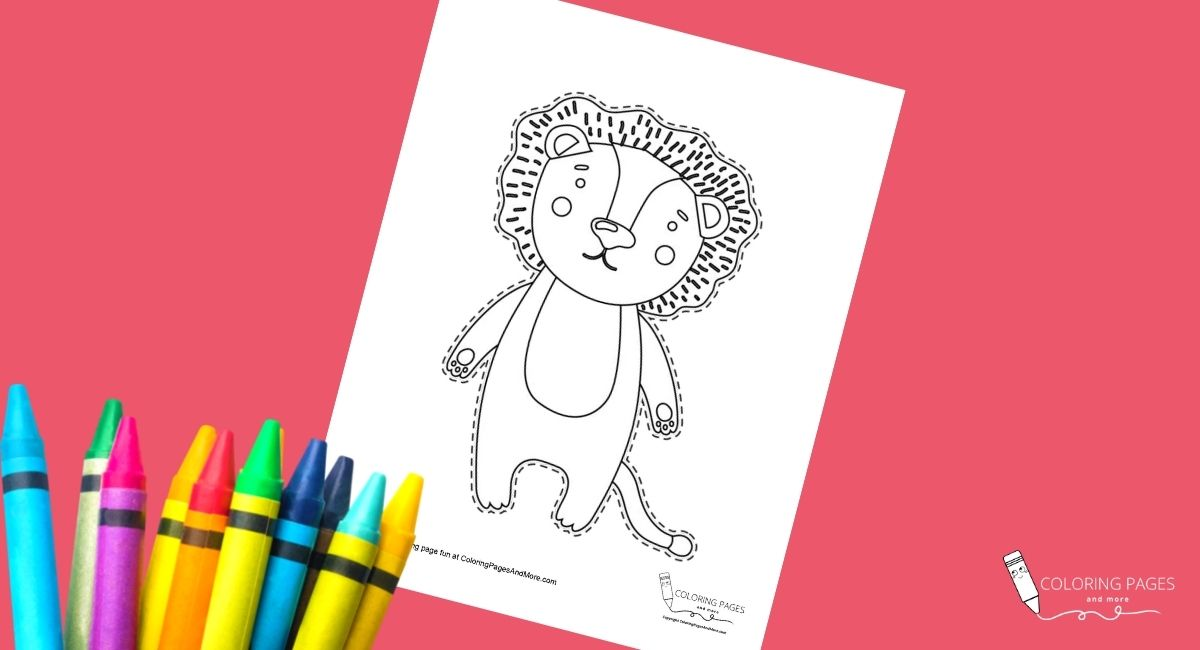 Lion Coloring and Cutting Page