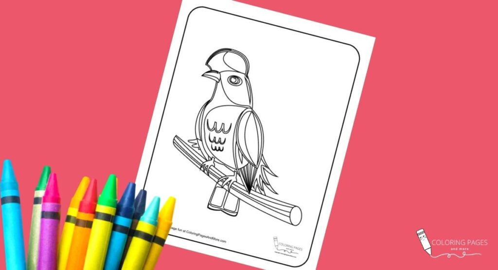 Bird on Branch Coloring Page