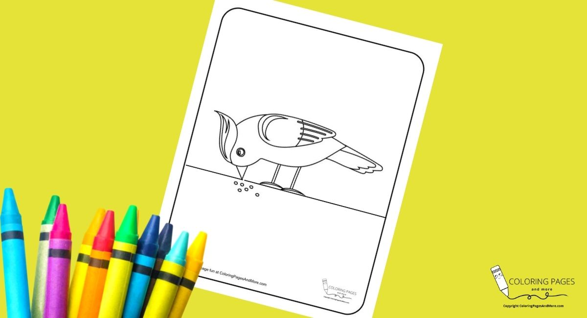 Bird Eating Coloring Page