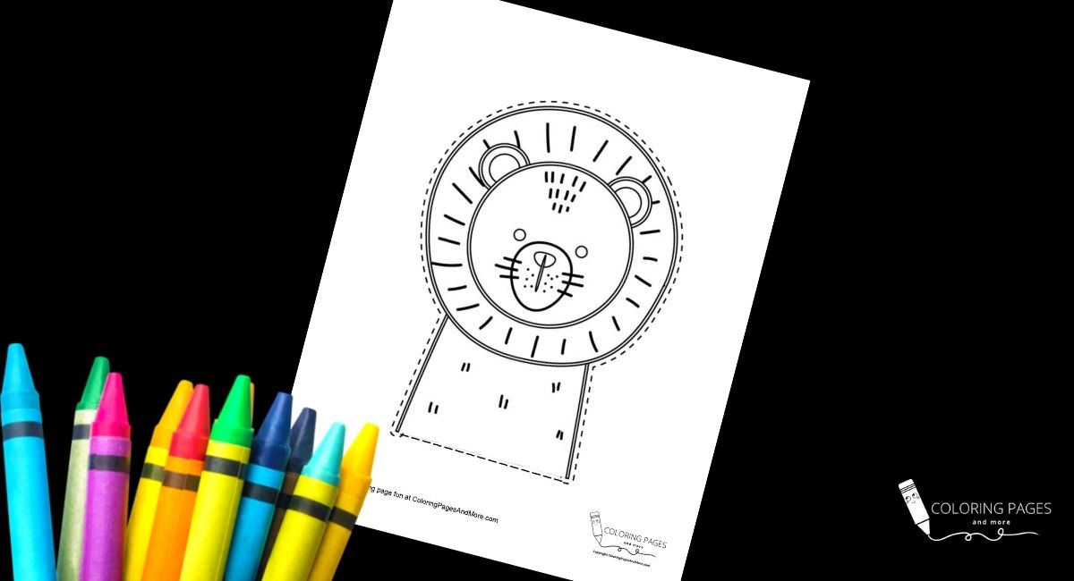 Lion Face Coloring and Cutting Page
