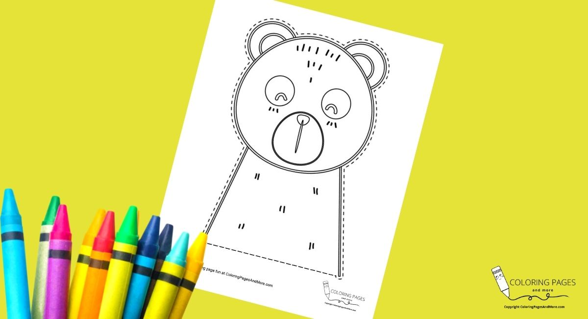 Sleepy Bear Coloring and Cutting Page