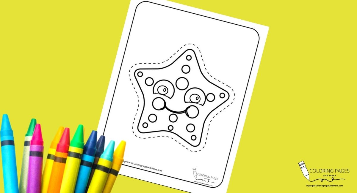 Smiley Starfish Coloring and Cutting Page
