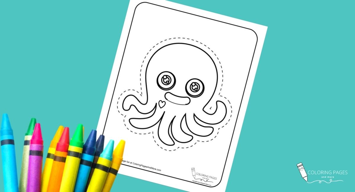 Heart Octopus Coloring and Cutting Page
