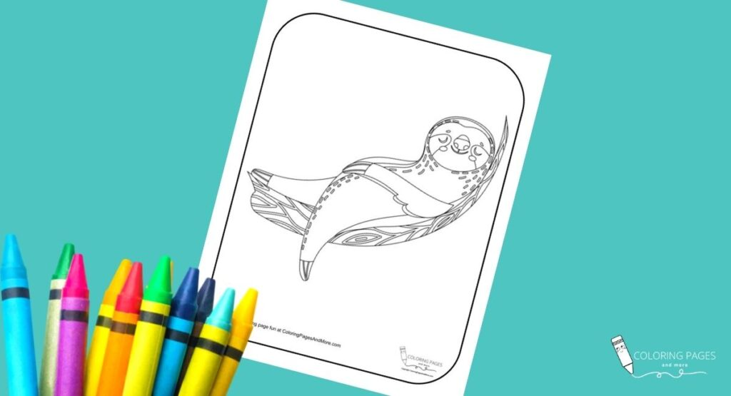 Lounging Sloth Coloring Page