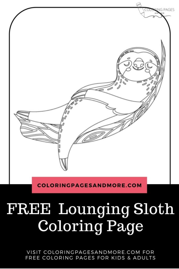 Free Lounging Sloth Coloring Page