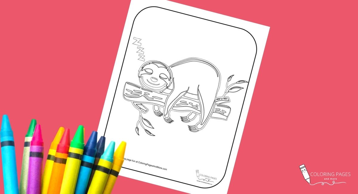 Naptime Sloth Coloring Page