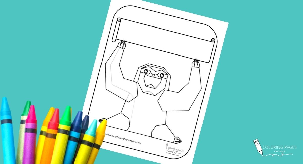 Sloth Holding a Banner Coloring Page