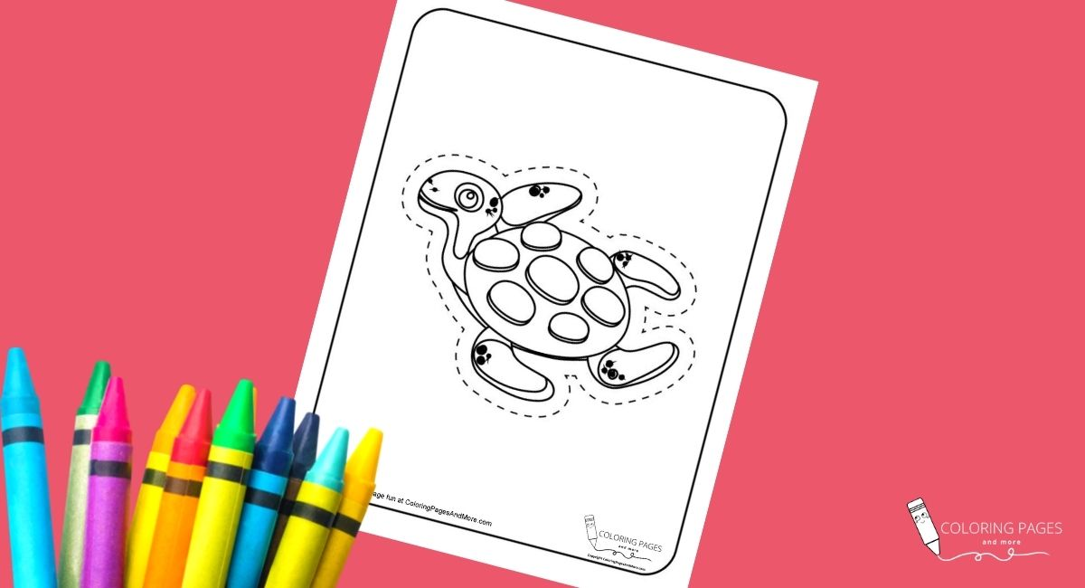 Sea Turtle Coloring and Cutting Page