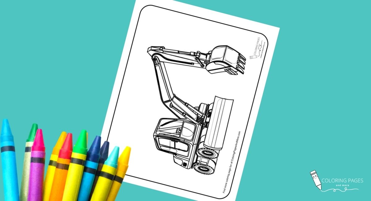 Backhoe Construction Truck Coloring Page