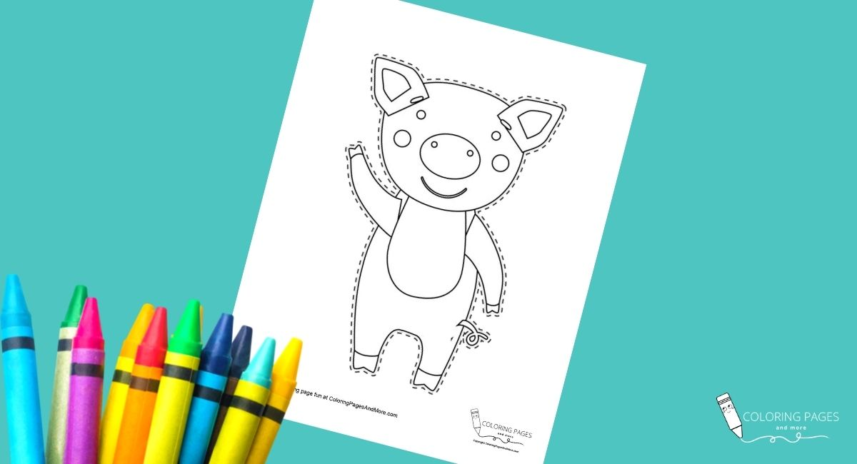 Piggy Coloring and Cutting Page