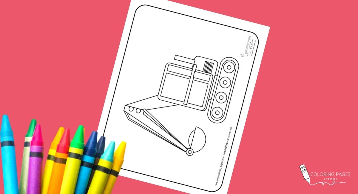 Digger Construction Truck Coloring Page