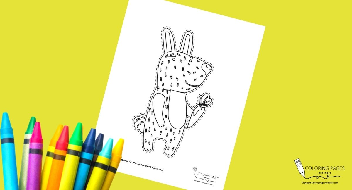Bunny Coloring and Cutting Page