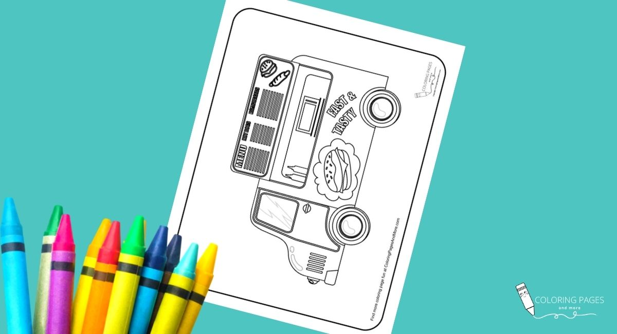 Burgers and Hot Dogs Food Truck Coloring Page