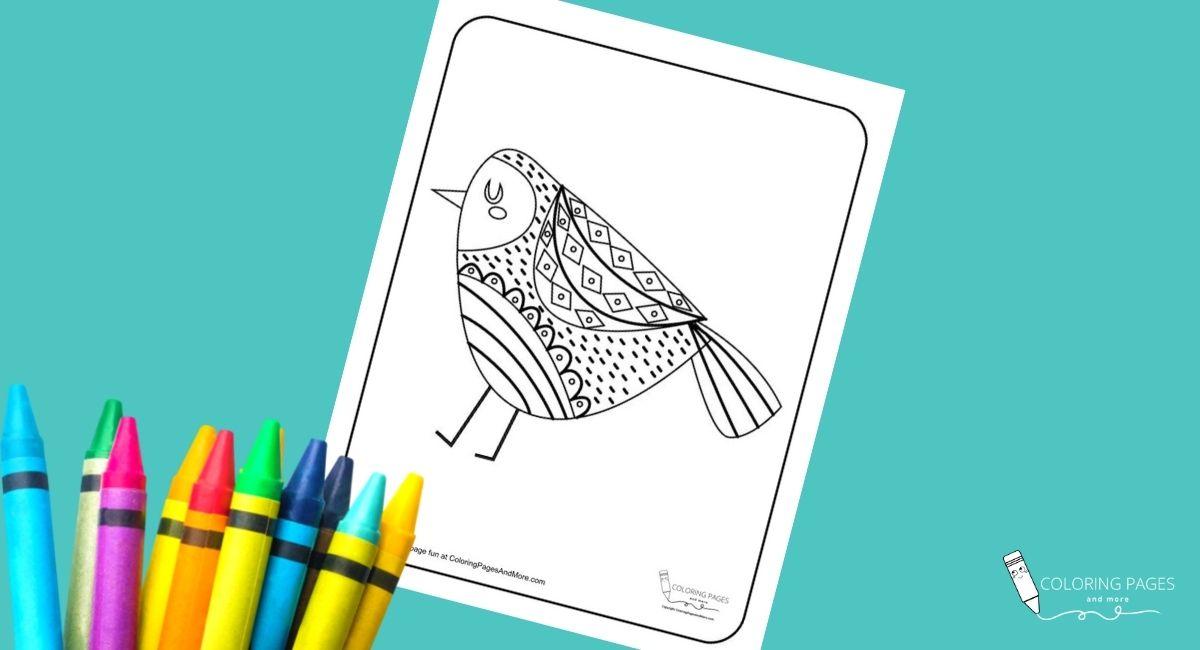 Walking Mandala Bird Coloring Page