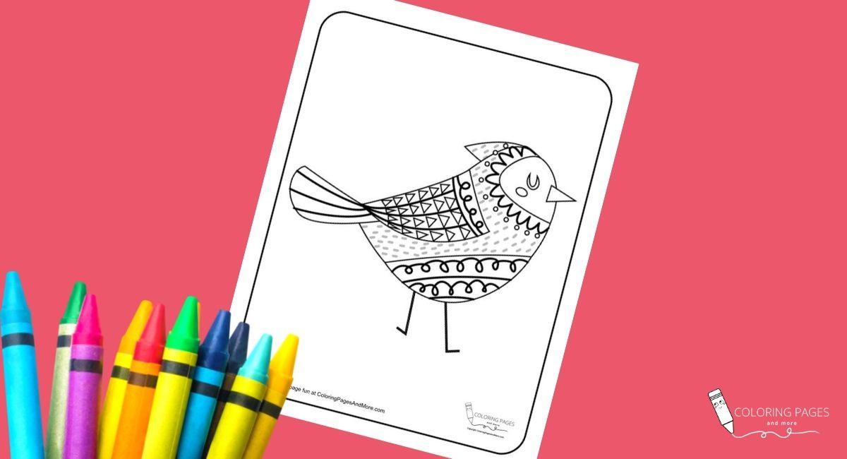 Crested Mandala Bird Coloring Page