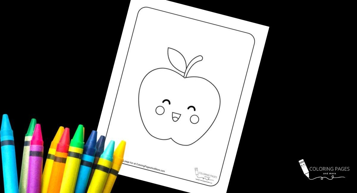 Kawaii Apple Coloring Page