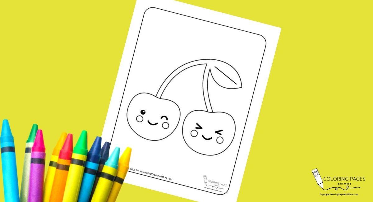 Kawaii Cherries Coloring Page