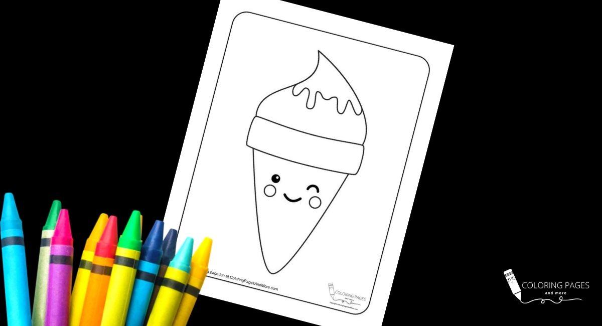 Kawaii Single Scoop Ice Cream Cone Coloring Page