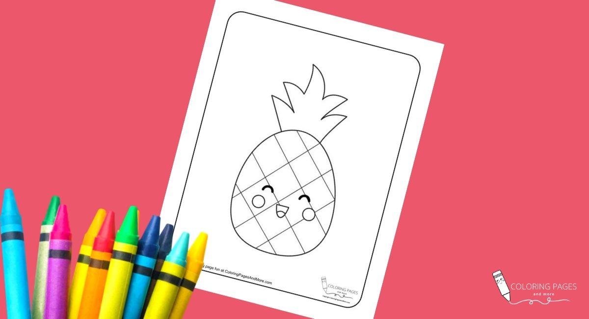 Kawaii Pineapple Coloring Page