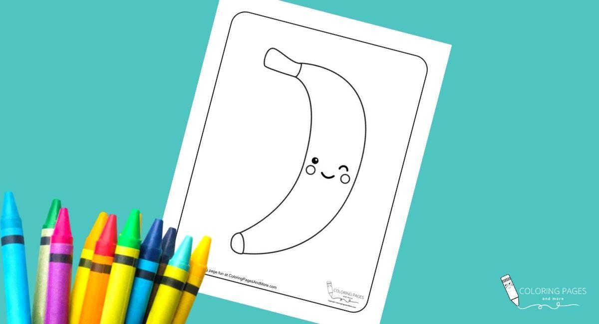 Kawaii Banana Coloring Page