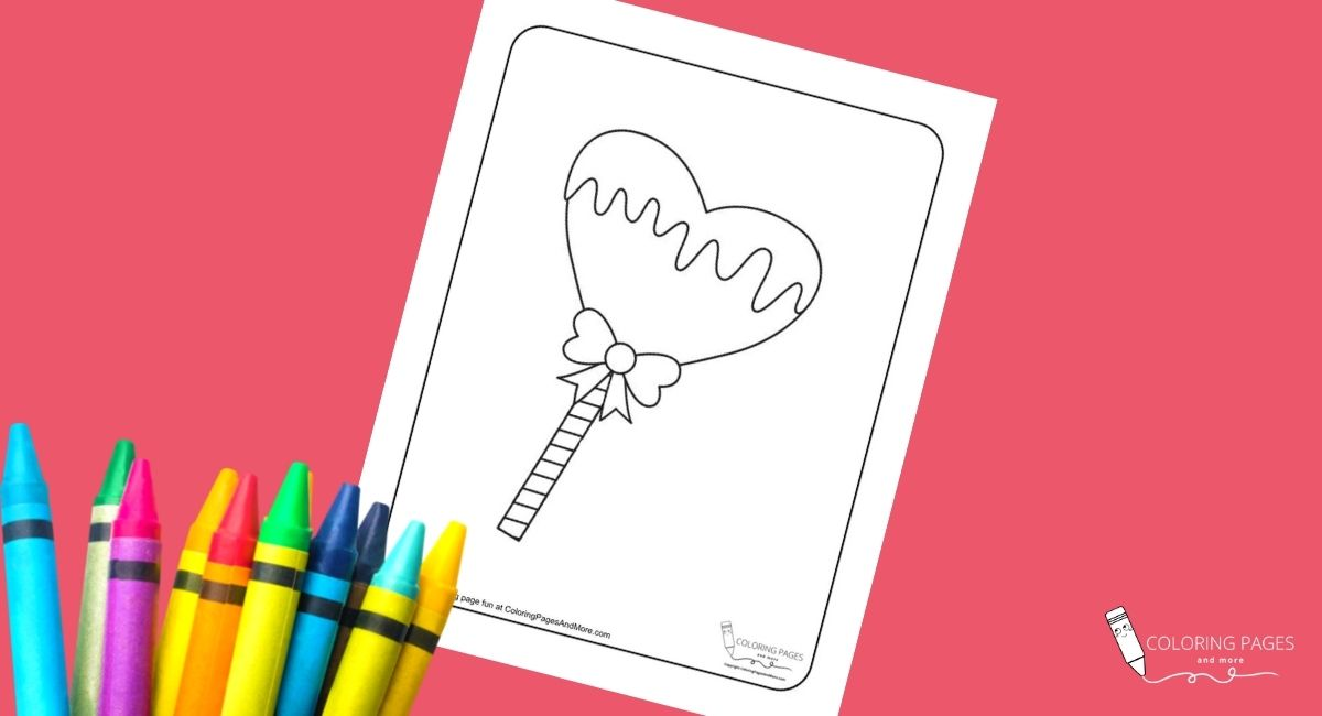 Heart Cake Pop Coloring Page