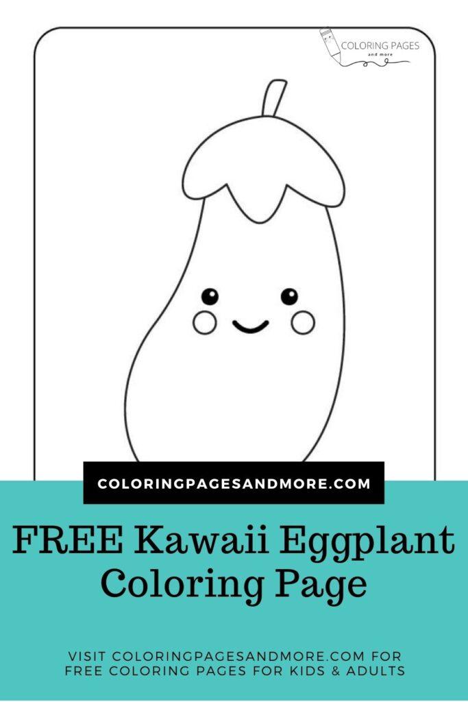 Kawaii Eggplant Coloring Page
