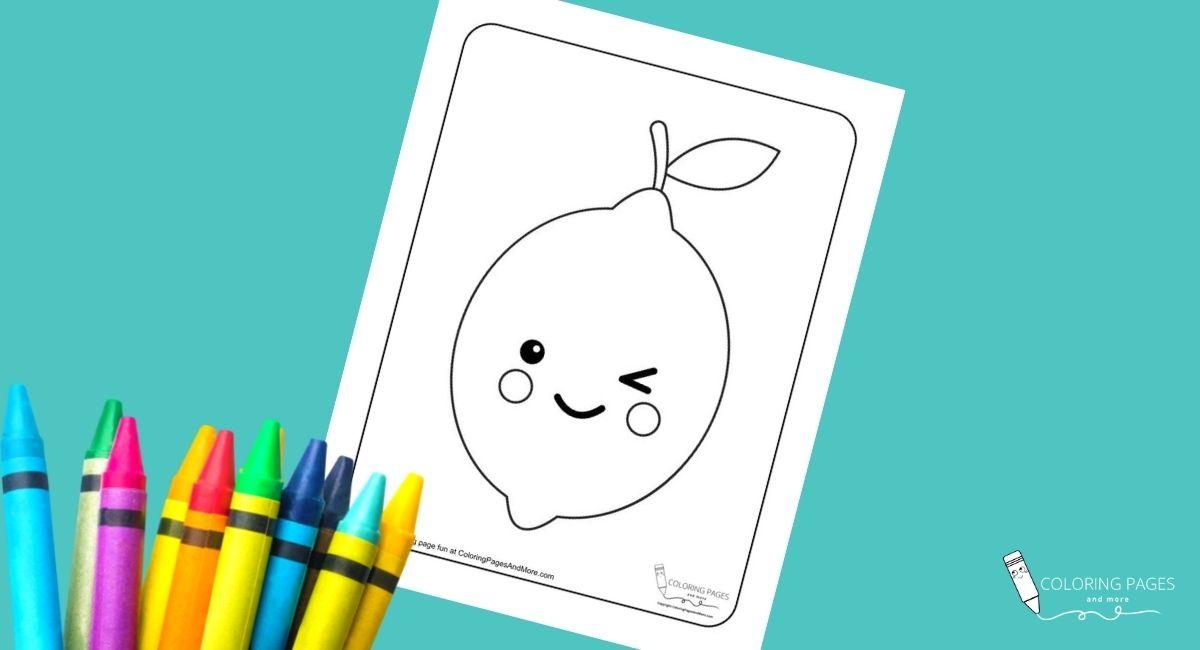 Kawaii Lemon Coloring Page