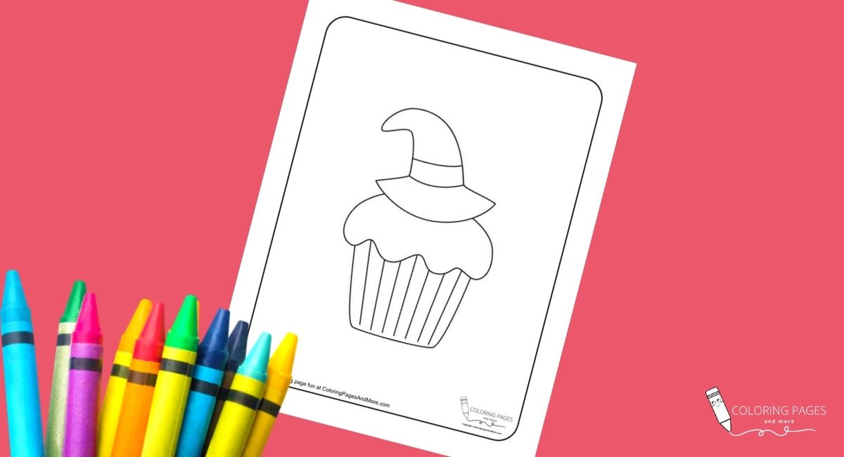 Witch Hat Halloween Cupcake Coloring Page