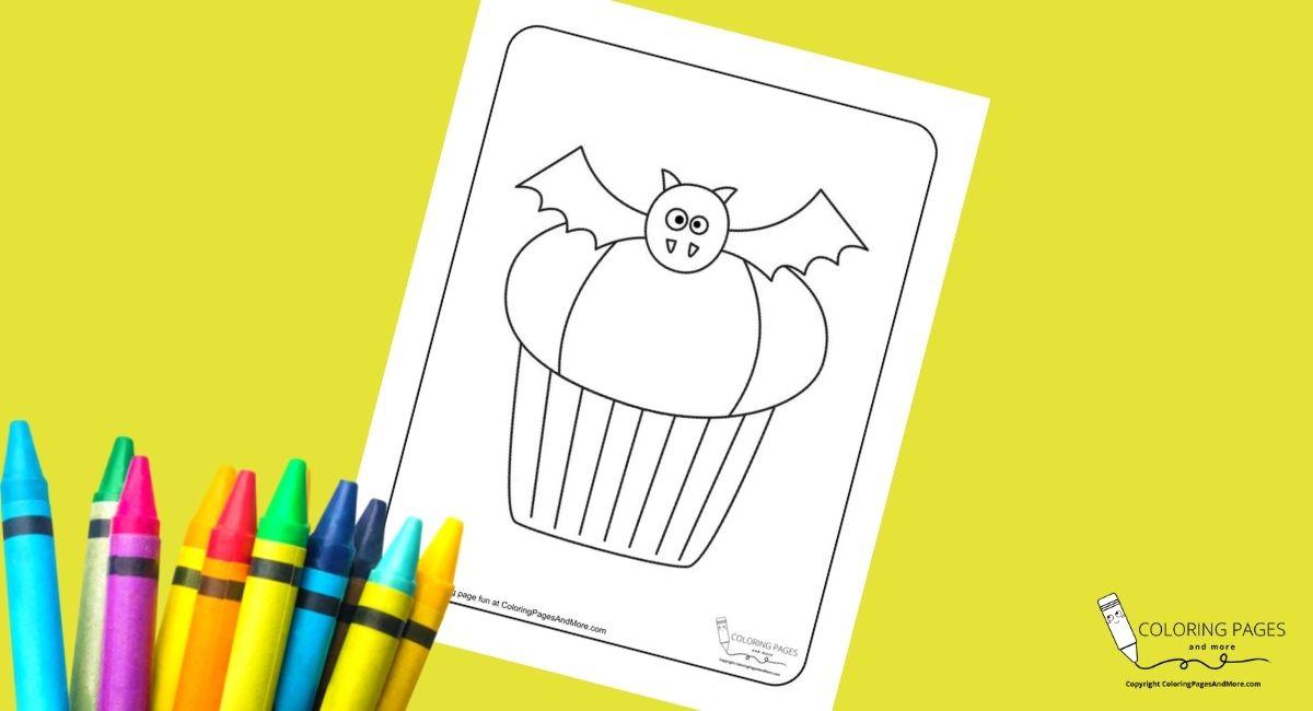Bat Halloween Cupcake Coloring Page