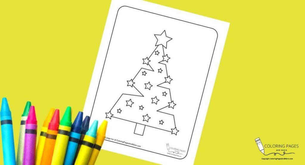 Modern Christmas Tree Coloring Page