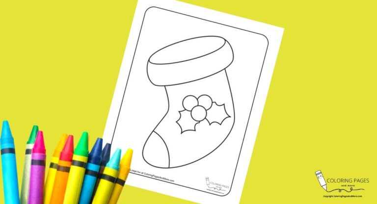 Holly Christmas Stocking Coloring Page