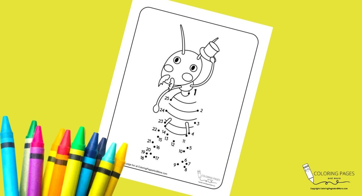 Ant with Top Hat Dot-to-Dot Coloring Page
