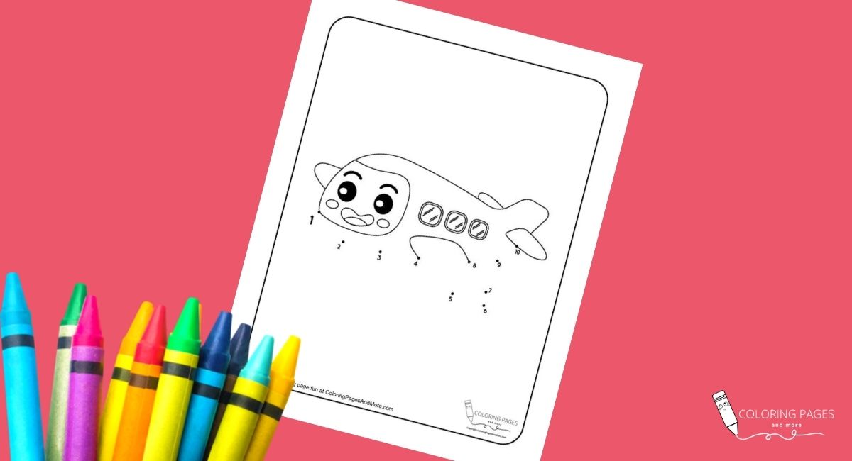 Airplane Dot-to-Dot Coloring Page