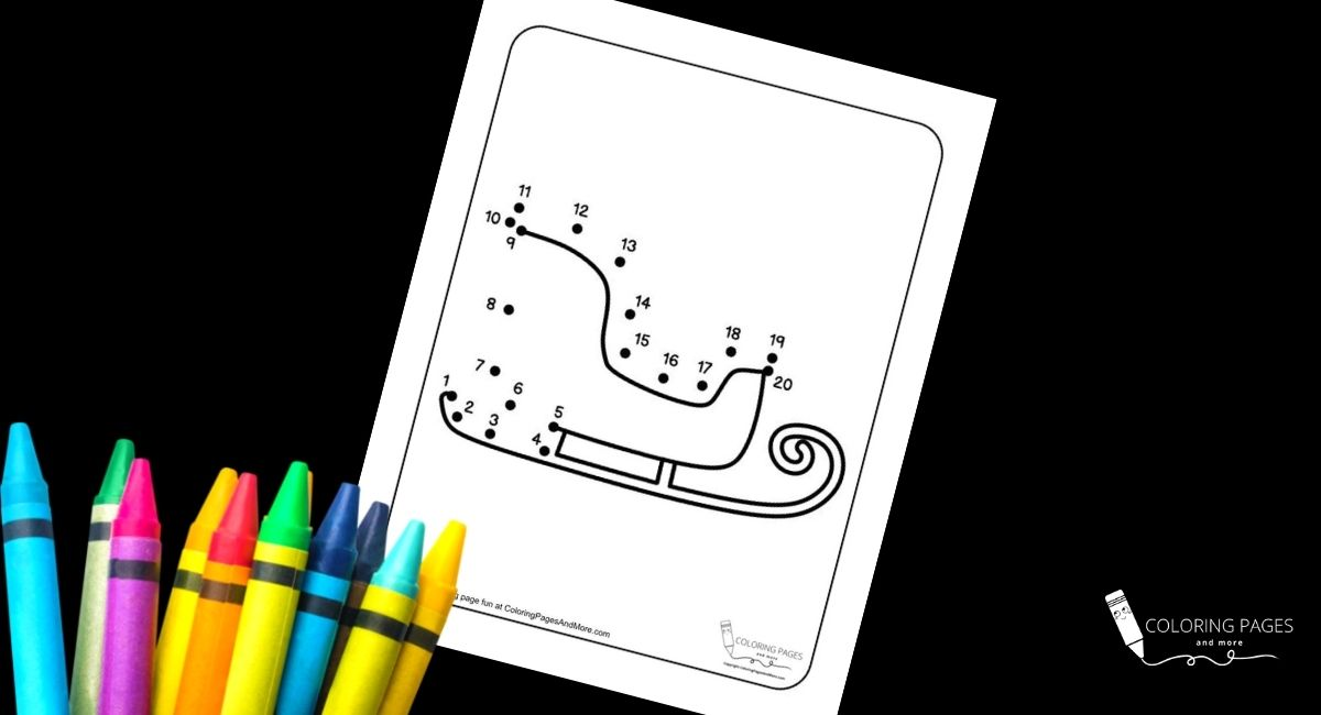 Sleigh Dot-to-Dot Coloring Page