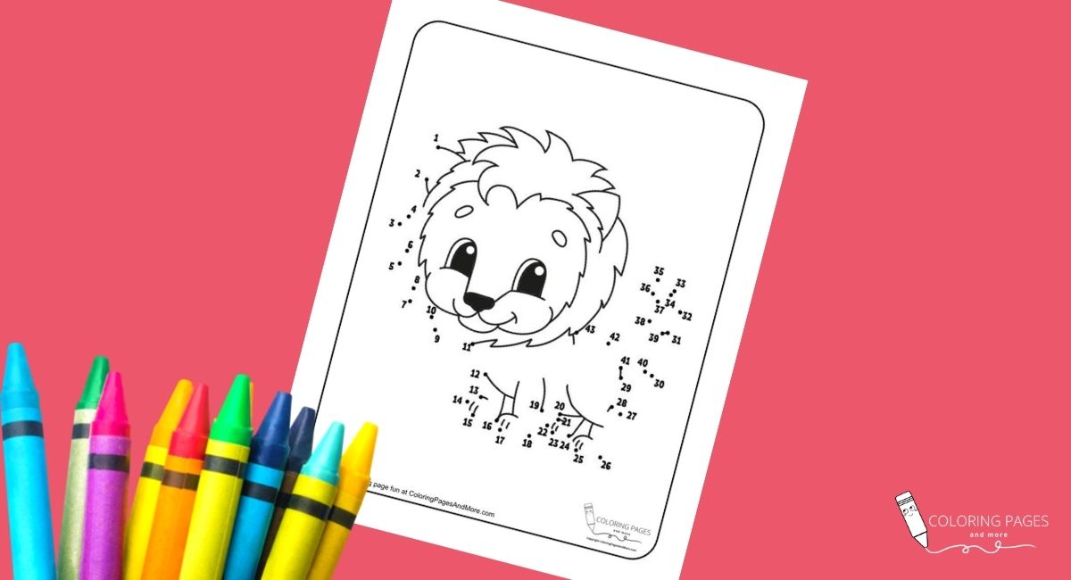 Lion Dot-to-Dot Coloring Page