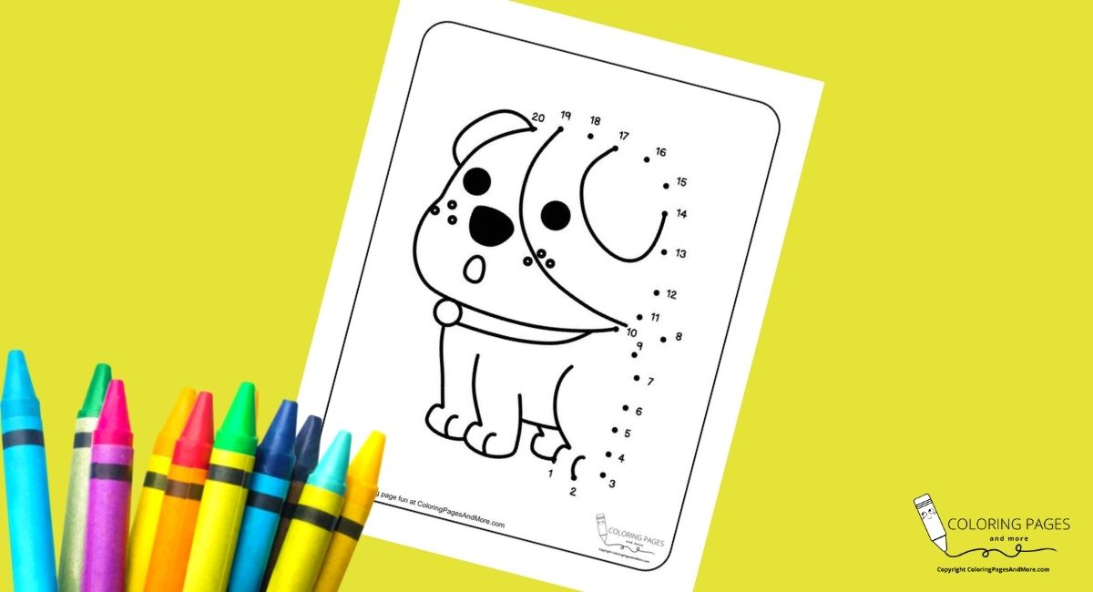 Surprised Puppy Dot-to-Dot Coloring Page