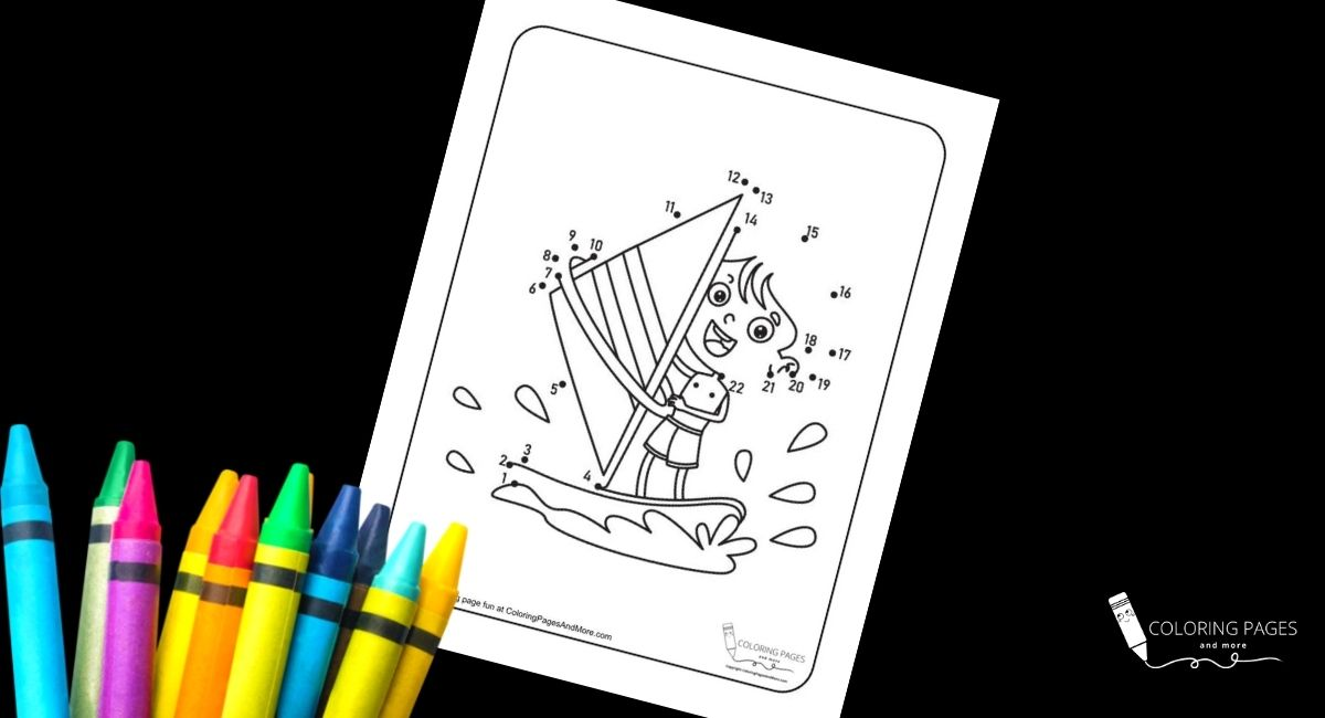 Kid Windsurfing Dot-to-Dot Coloring Page