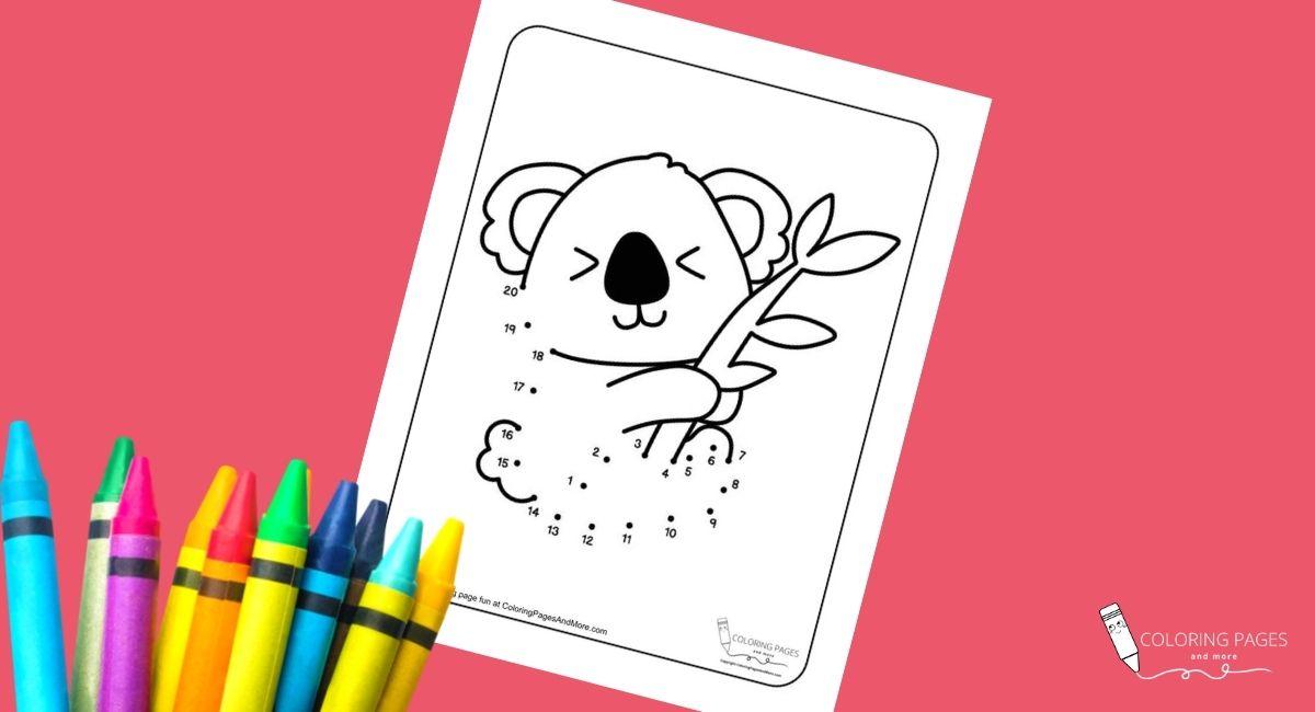 Koala Dot-to-Dot Coloring Page