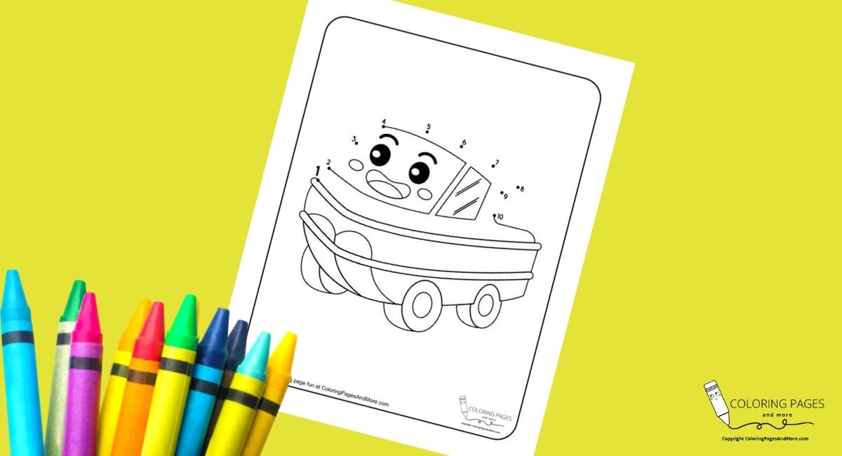 Duck Boat Dot-to-Dot Coloring Page