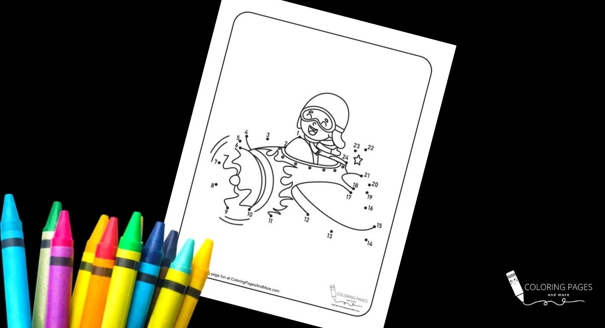Fighter Pilot Dot-to-Dot Coloring Page