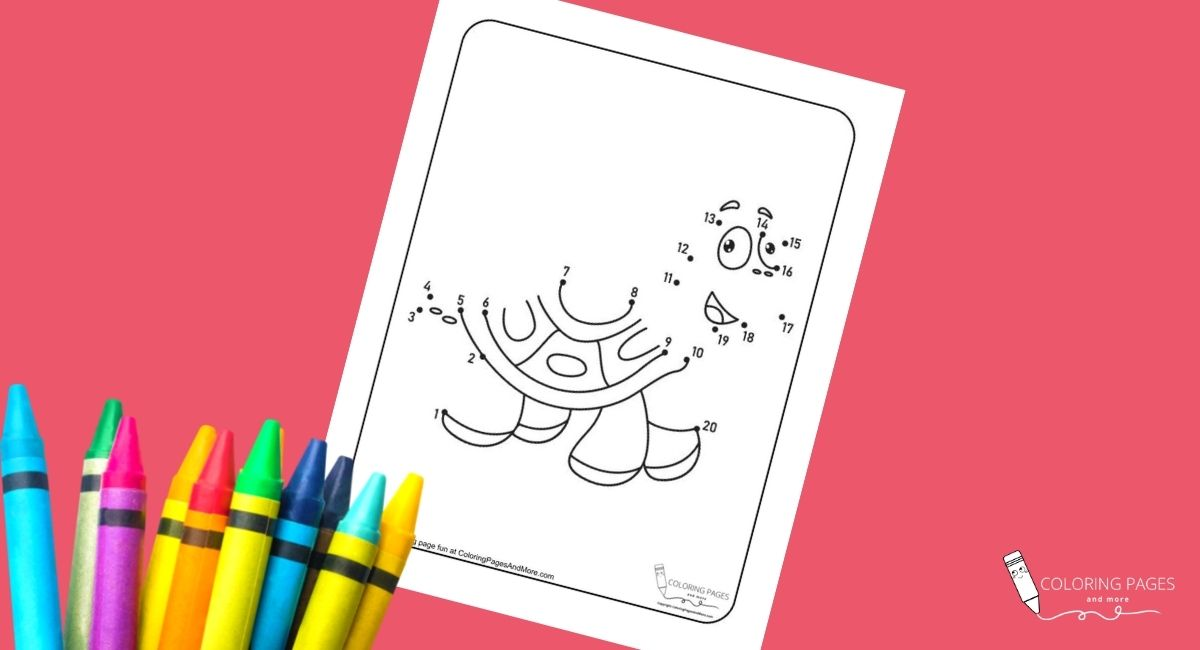 Happy Turtle Dot-to-Dot Coloring Page