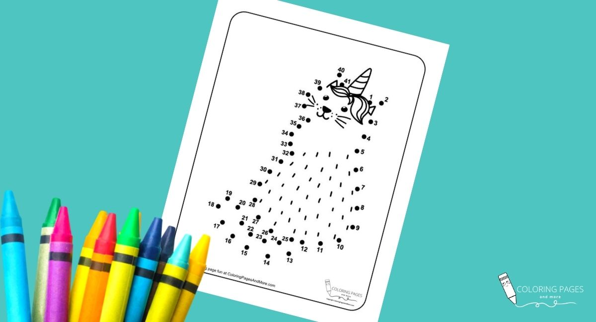Caticorn Dot-to-Dot Coloring Page