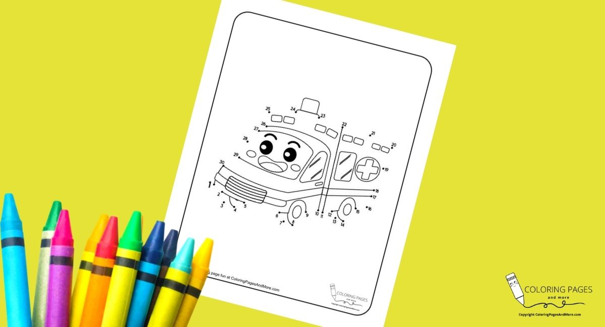 Smiling Ambulance Dot-to-Dot Coloring Page