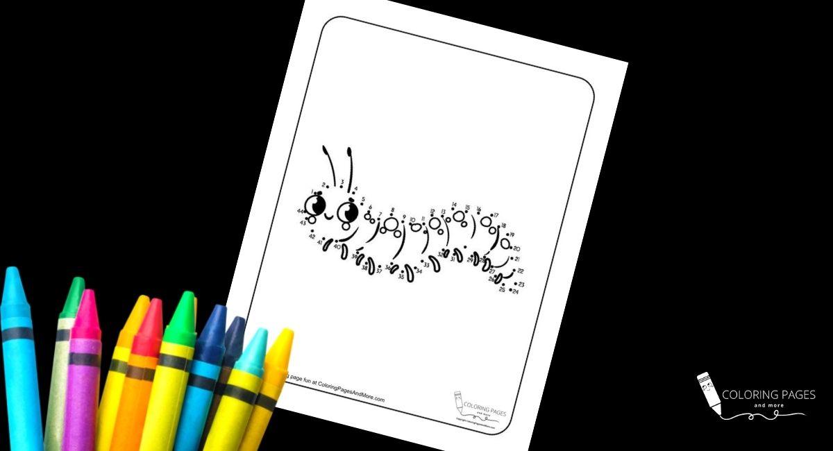 Caterpillar Dot-to-Dot Coloring Page