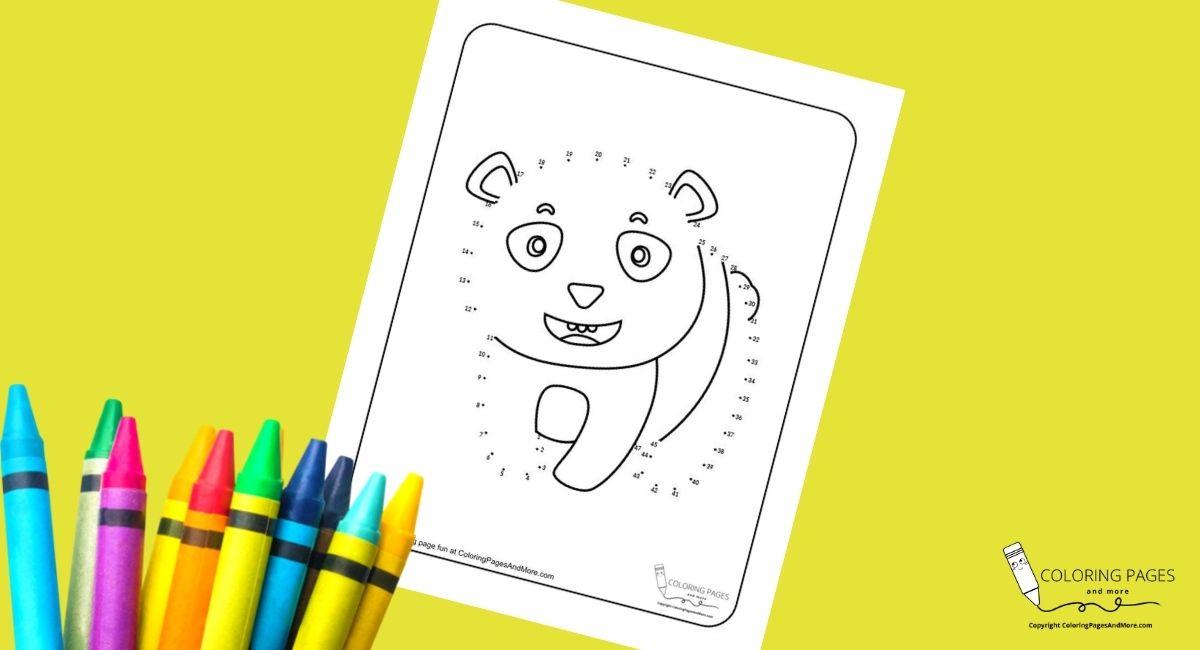 Panda Bear Dot-to-Dot Coloring Page