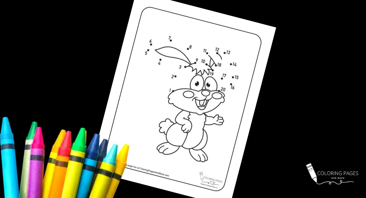 Toothy Bunny Dot-to-Dot Coloring Page