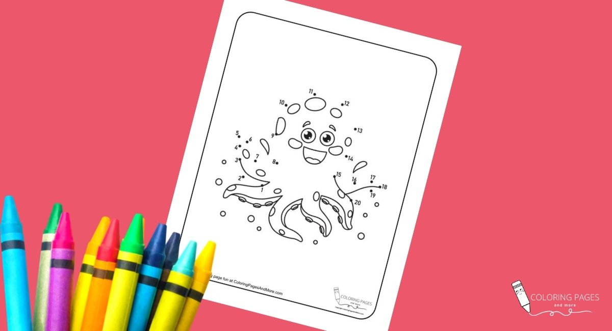 Octopus Dot-to-Dot Coloring Page