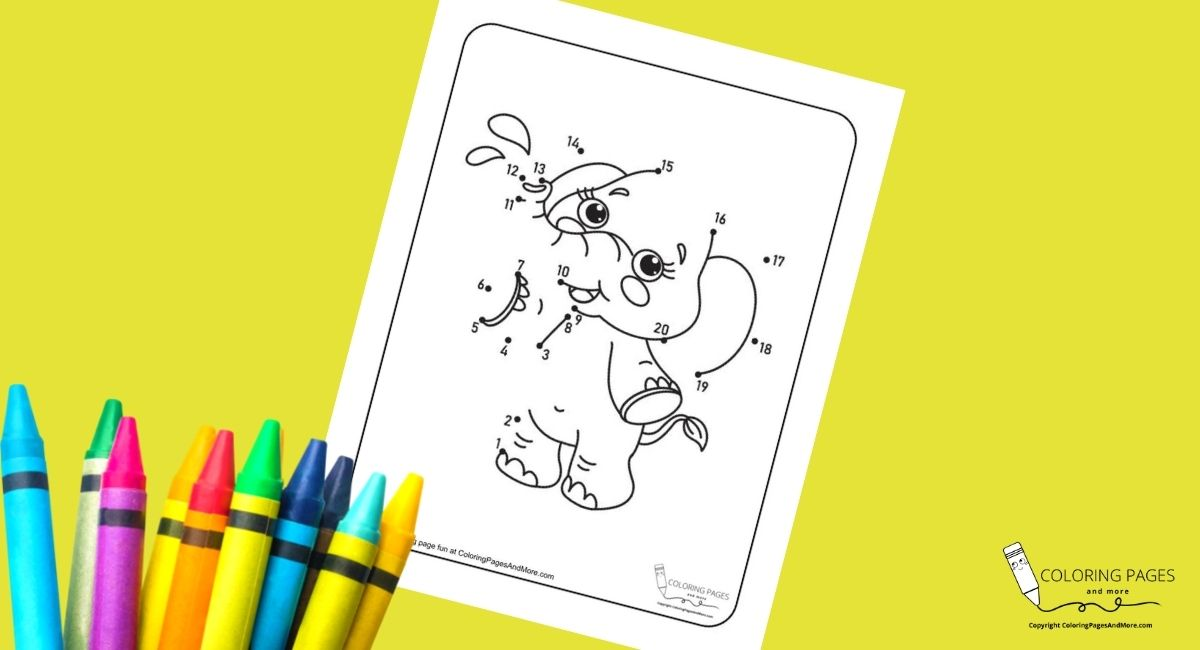 Happy Elephant Dot-to-Dot Coloring Page