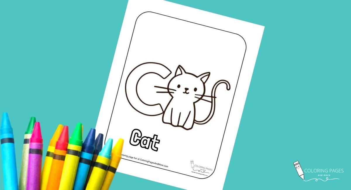 Letter C – Cat Alphabet Coloring Page